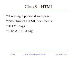 Class 9 - HTML