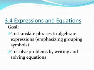 3.4 Expressions and Equations