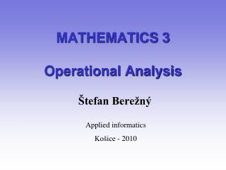 MATHEMATICS 3 Operational Analysis