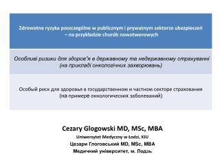 Cezary Glogowski MD, MSc, MBA Uniwersytet Medyczny w Łodzi, KIU Цезари Глоговський  MD, MSc, MBA