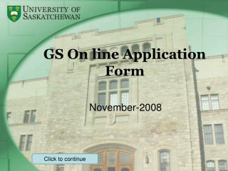 GS On line Application Form