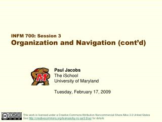 INFM 700: Session 3 Organization and Navigation (cont'd)