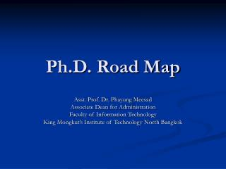 Ph.D. Road Map