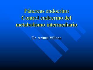 Páncreas endocrino Control endocrino del metabolismo intermediario