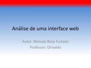 Análise de uma interface web