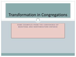Transformation in Congregations