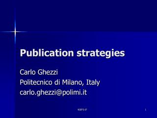 Publication strategies