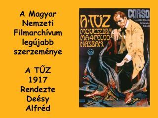 A Magyar Nemzeti Filmarchívum legújabb szerzeménye A TŰZ 1917 Rendezte Deésy Alfréd