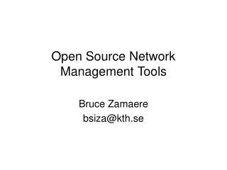 Open Source Network Management Tools