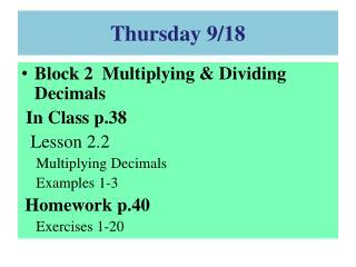 Thursday 9/18