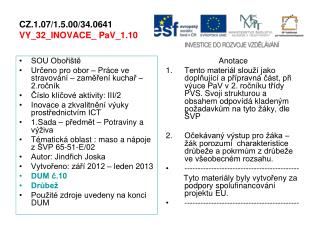 CZ.1.07/1.5.00/34.0641 VY_32_INOVACE_ PaV_1.10