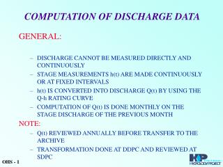 COMPUTATION OF DISCHARGE DATA