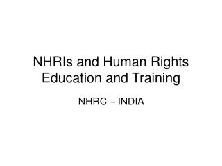 NHRIs and Human Rights Education and Training