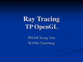 Ray Tracing TP OpenGL