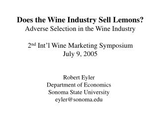 Does the Wine Industry Sell Lemons