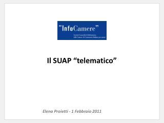 """Il SUAP """"telematico"""""""
