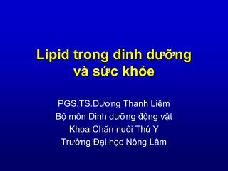 Lipid trong dinh dưỡng và sức khỏe