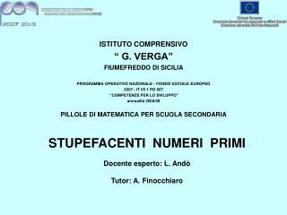 ISTITUTO COMPRENSIVO � G. VERGA� FIUMEFREDDO DI SICILIA