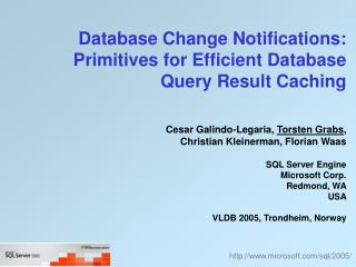 Database Change Notifications: Primitives for Efficient Database Query Result Caching