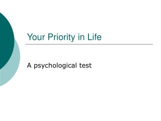 Your Priority in Life