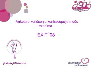 Anketa o korišćenju kontracepcije među mladima EXIT '08