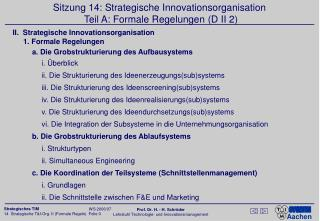 Sitzung 14: Strategische Innovationsorganisation  Teil A: Formale Regelungen (D II 2)