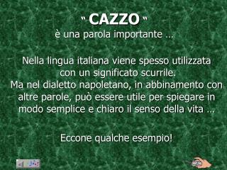 """""""  CAZZO  """" è una parola importante …"""