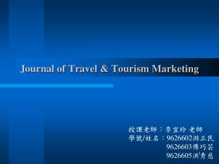 Journal of Travel  Tourism Marketing