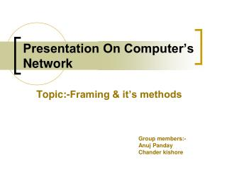 Presentation On Computer s Network