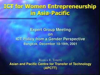 ICT for Women Entrepreneurship in Asia-Pacific