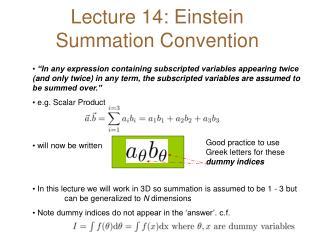 Lecture 14: Einstein Summation Convention