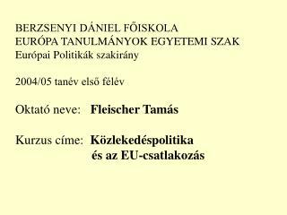 BERZSENYI DÁNIEL FŐISKOLA EURÓPA TANULMÁNYOK EGYETEMI SZAK Európai Politikák szakirány