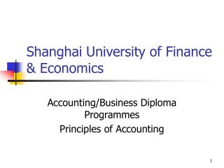 Shanghai University of Finance  Economics