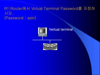 R1:Router 에서  Virtual Terminal Password 를 지정하시오 . (Password : asin)