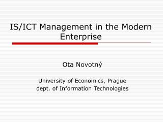 IS/ICT Management in the Modern Enterprise