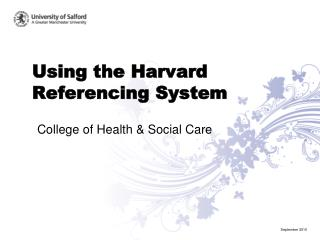 Using the Harvard Referencing System
