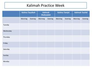 Kalimah  Practice Week