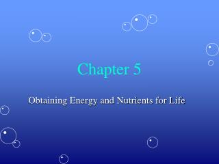 Obtaining Energy and Nutrients for Life