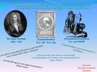 Matematikai algoritmusok