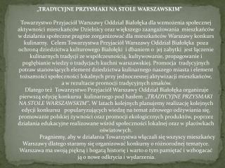 """""""TRADYCYJNE PRZYSMAKI NA STOLE WARSZAWSKIM"""""""