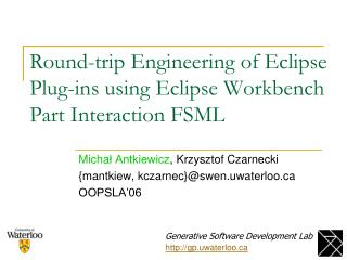 Round-trip Engineering of Eclipse Plug-ins using Eclipse Workbench Part Interaction FSML