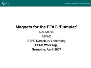 Magnets for the FFAG 'Pumplet'