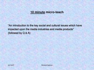 10 minute micro-teach