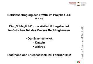 """Betriebsbefragung des RWNO im Projekt ALLE (n = 53) Ein """"Schlaglicht"""" zum Weiterbildungsbedarf"""