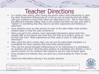 Teacher Directions