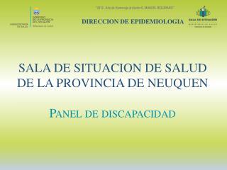 SALA DE SITUACION DE SALUD  DE LA PROVINCIA DE NEUQUEN Panel de discapacidad