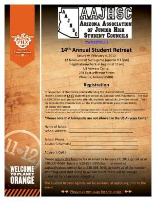 Aajhsc  14th Annual Student Retreat Saturday, February 4, 2012  12 Noon-end of Sun s game approx 9:15pm Registration