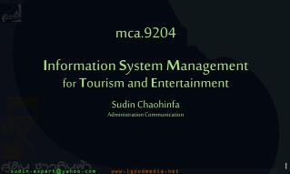 mca.9204 I nformation  S ystem  M anagement for T ourism and  E ntertainment