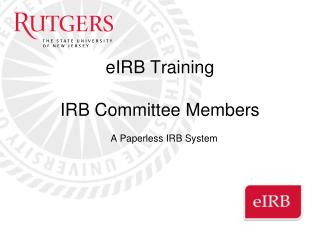eIRB Training  IRB Committee Members
