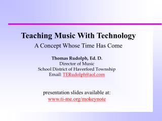Teaching Music With Technology A Concept Whose Time Has Come